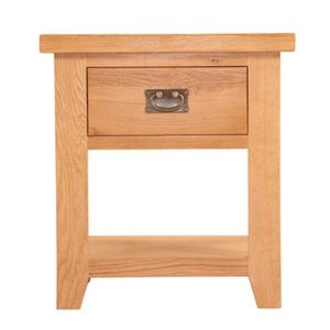 Lincoln Natural 1 Drawer Lamp Table With Shelf