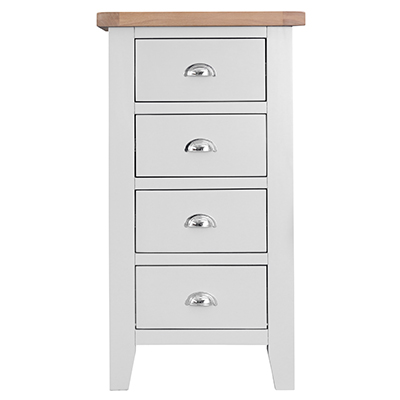 Suffolk White 4 Drawer Narrow Chest