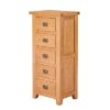 Lincoln Natural 5 Drawer Narrow Chest