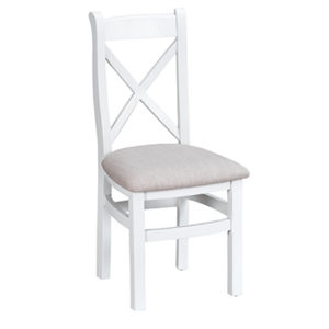 Suffolk White Cross Back Chair Fabric Seat