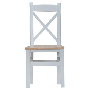 Suffolk Grey Cross Back Chair Wooden Seat
