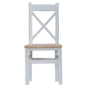 Suffolk Grey Cross Back Chair Wooden Seat