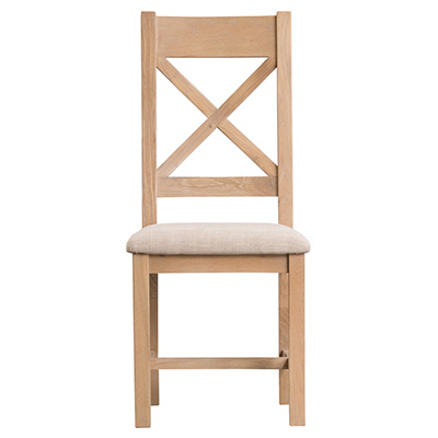 Windsor Limed Cross Back Chair Fabric Seat