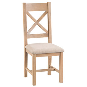 Windsor Limed Cross Back Chair With Fabric Seat