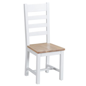 Suffolk White Laddder Back Chair Wooden Seat