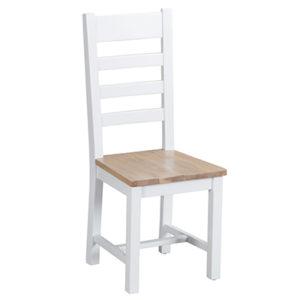 Suffolk White Laddder Back Chair Wooden Seat