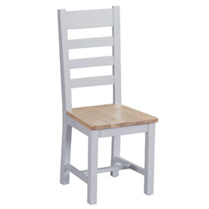 Suffolk Grey Ladder Back Chair Wooden Seat