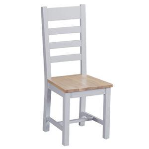 Suffolk Grey Ladder Back Chair Wooden Seat