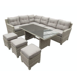 Luna 6 Piece Garden Set - Luna - Garden - Corner Sofa - Table - Stool - Summer - Set - Cushions - Glass - Rattan - Paphos - Cyprus - Steptoes - AFS