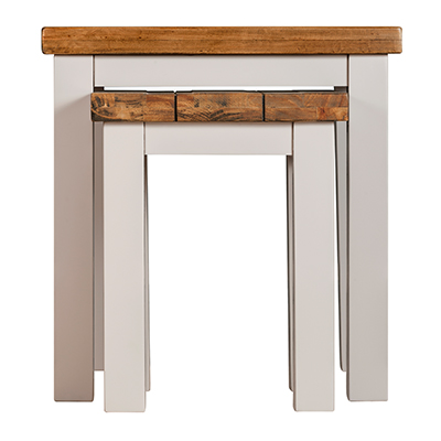 Norfolk Grey 2 Nest of Tables- Wood - Oak - Pine - Mango Wood - Painted - Natural Wood - Solid Wood - Lounge - Bedroom - Dining - Occasional - Furniture - Home - Living - Comfort - Interior Design - Modern