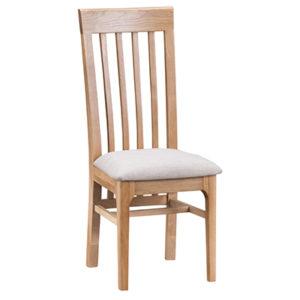 Bergen Oak Slat Back Chair Fabric Seat