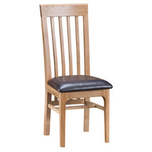 Bergen Oak Slat Back Chair PU Seat