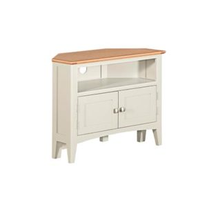 Eva Cream Corner TV Unit- Wood - Oak - Pine - Mango Wood - Painted - Natural Wood - Solid Wood - Lounge - Bedroom - Dining - Occasional - Furniture - Home - Living - Comfort - Interior Design - Modern