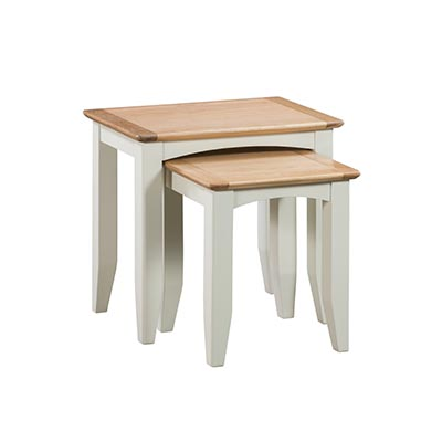 Eva Cream Nest of 2 Tables- Wood - Oak - Pine - Mango Wood - Painted - Natural Wood - Solid Wood - Lounge - Bedroom - Dining - Occasional - Furniture - Home - Living - Comfort - Interior Design - Modern