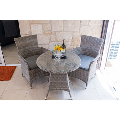 Havana Small Bistro Set - Havana Bistro Set - Chairs - Table - Glass Table - Rattan - Aluminium - Garden - Outdoors - Outside - Paphos - Steptoes - Furniture 4