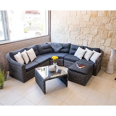 Havana - Havana Corner - Corner Garden Set - Garden - Lounge - Rattan - Cushions - Black - Grey - Sofa - Corner Sofa - Comfort - Relax - Steptoes - Furniture - Paphos - Cyprus