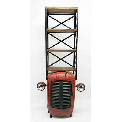 TRACTOR BOOKCASE - INDIAN - RETRO - VINTAGE - WOODEN - METAL - WOOD - HAND MADE - HAND CRAFTED - STEPTOES - AFS - PAPHOS - CYPRUS 1