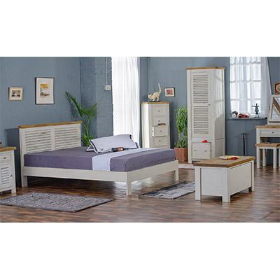 Kaveri 5'0 King Size Bed - Wood - Oak - Pine - Mango Wood - Painted - Natural Wood - Solid Wood - Lounge - Bedroom - Dining - Occasional - Furniture - Home - Living - Comfort - Interior Design - Modern