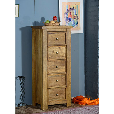 Modassa 5 Drawer Narrow Chest - Wood - Oak - Pine - Mango Wood - Painted - Natural Wood - Solid Wood - Lounge - Bedroom - Dining - Occasional - Furniture - Home - Living - Comfort - Interior Design - Modern