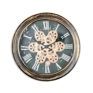 Antique Black and GoldBronze Moving Gears Wall Clock