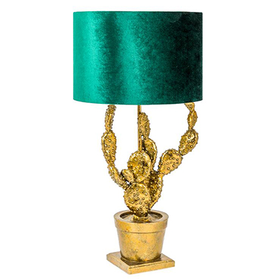 Antique Gold Potted Cactus Lamp with Green Velvet Shade