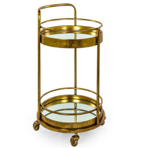 Antique GoldBronze Leaf Metal Small Round Bar Trolley