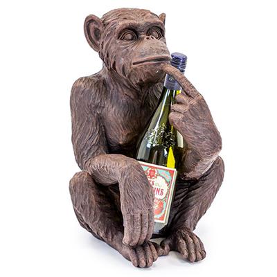 Antiqued Sitting Monkey Bottle Holder Assorted Colours