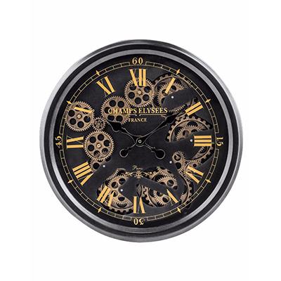 Black and Gold Medium Moving Gears Clock