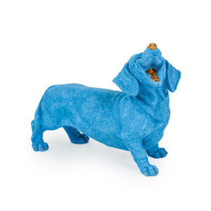 Blue Laughing Dachshund Figure