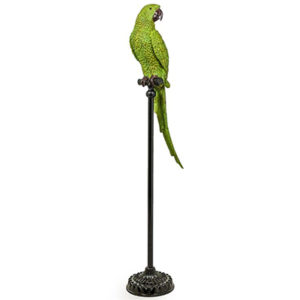 Large Green Parrot on Floor Standing Perch
