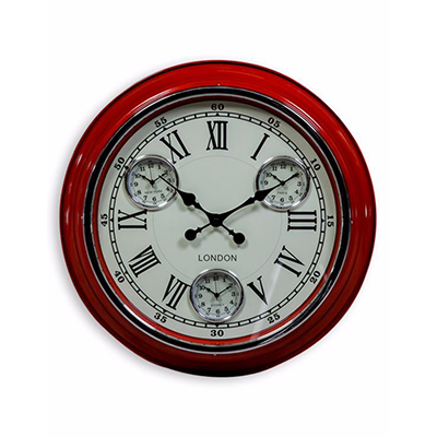 Retro London Multi Dial Wall Clock Assorted Colours