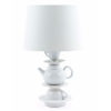 White Ceramic Teapot Table Lamp with White Shade