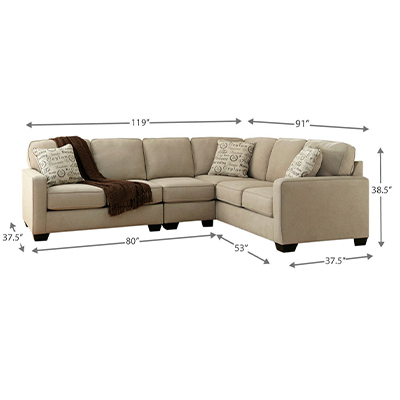 Alenya 3 Piece Large Light Grey Corner Sofa Set