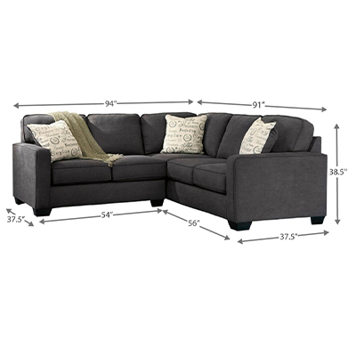 Alenya 2 Piece Dark Grey Corner Sofa Set