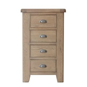 Perth Oak 4 Drawer Chest - Narrow Chest - Bedroom Chest - Chest of Drawers - Interior - Storage - Smoked Oak - Oak - Solid Wood Furniture - Furniture - Bedroom - Bedroom Furniture - Steptoes - Paphos - Cyprus