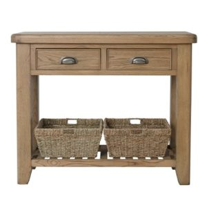 Perth Oak Console Table - Console Table - Hall Table - Storage - Interior - Oak - Smoked Oak - Solid Wood Furniture - Living - Dining - Occasional - Furniture - Paphos - Cyprus - Steptoes