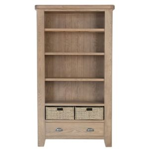 Perth Oak Large Bookcase - Perth - Oak - Smoked Oak - Large Bookcase - Bookcase - Storage - Interior - Solid Wood Furniture - Living - Dining - Furniture - Paphos - Cyprus - Steptoes