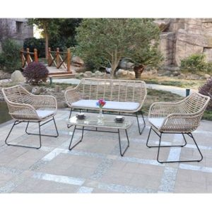 Rattan Natural Garden Bistro Set - Rattan - Chairs - Sofa - Cushions - Garden - Outdoors - Bistro - Aluminium - Exterior - Comfort - Lounge - Furniture - Paphos - Cyprus - Steptoes