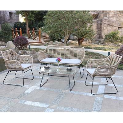 Rattan Natural Garden Bistro Set - Rattan - Chairs - Sofa - Cushions - Garden - Outdoors - Bistro - Aluminium - Exterior - Comfort - Lounge - Furniture - Paphos - Cyprus - Steptoes