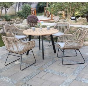 Rattan Natural Garden Dining Set - Rattan - Aluminium - Garden - Outdoors - Outdoor - Patio - Balcony - Exterior - Dining - Furniture - Steptoes - Paphos - Cyprus