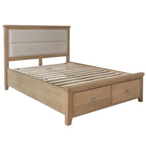 Perth King Size Bed With Drawers - Bed - Oak - Smoked Oak - Bed - Bedroom - Fabric Headboard - Storage - Drawers - Furniture - Steptoes - Paphos - Cyprus