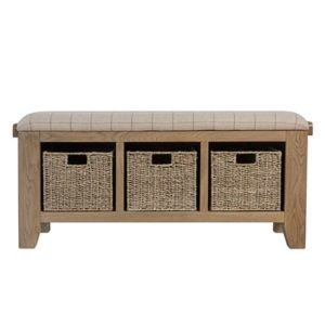 Perth Oak Hall Bench - Hall Bench - Smoked Oak - Oak - Wood - Wooden - Seat - Storage - Occasional - Hall Unit - Furniture - Steptoes - Paphos - Cyprus
