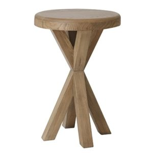 Perth Oak Round Lamp Table - Lamp Table - Side Table - Side - Oak - Smoked Oak - Cross Legged - Wood - Wooden -Lounge - Living - Furniture - Steptoes - Paphos