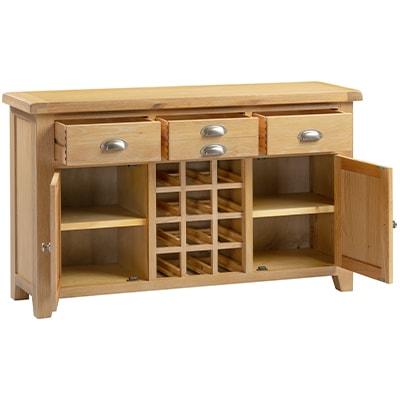 Hartford Natural Large Wine Rack - Grey Limed Oak - Limed Oak - Oak - Wooden - Pine - Wine Rack - Sideboard - Dining - Furniture - Paphos - Cyprus - Steptoes