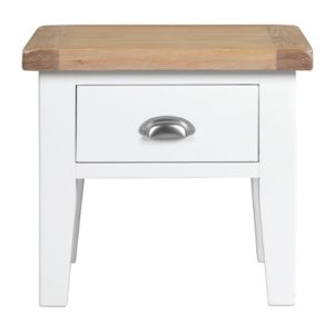Hartford White Lamp Table - Wooden - Oak - Pine - Painted - Limed Oak - White - Coffee Table - Storage - Drawers - Interior - Lounge - Living - Furniture - Paphos - Cyprus - Steptoes