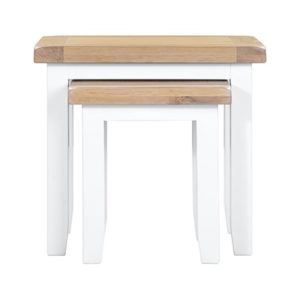 Hartford White Nest of 2 Tables - Wooden - Oak - Pine - White - Painted - Limed Oak - Nest - Side Tables - Lounge - Living - Furniture - Paphos - Cyprus - Steptoes