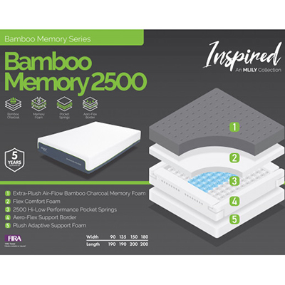Bamboo 2500 - Double Size Mattress - King Size Mattress - Superking Size Mattress - Cool Gel - Memory Foam - Gel Mattress - Comfort - Sleep - Support - Mattresses - Steptoes - Furniture - Paphos - Cyprus