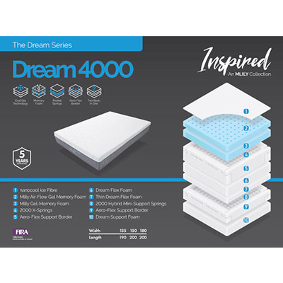 Dream 4000 - Double Size Mattress - King Size Mattress - Superking Size Mattress - Cool Gel - Memory Foam - Gel Mattress - Comfort - Sleep - Support - Mattresses - Steptoes - Furniture - Paphos - Cyprus