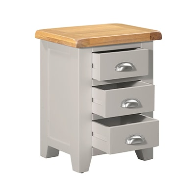 Hartford Grey Bedside Cabinet - Limed Oak - Grey - Grey Painted - Oak - Pine - Wooden - Solid Wood Furniture - Furniture - Bedroom - Living - Lounge - Dining - Paphos - Cyprus - Steptoes