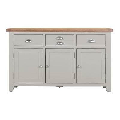 Hartford Grey Large Sideboard - Limed Oak - Grey - Grey Painted - Oak - Pine - Wooden - Solid Wood Furniture - Furniture - Bedroom - Living - Lounge - Dining - Paphos - Cyprus - Steptoes